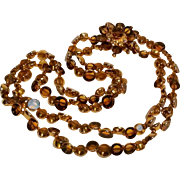 Signed Hattie Carnegie window  cut topaz gold glass bead necklace 2 strand ornate clasp