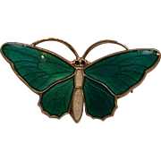 Aksel Holmsen sterling green basse taille enamel butterfly pin Norway