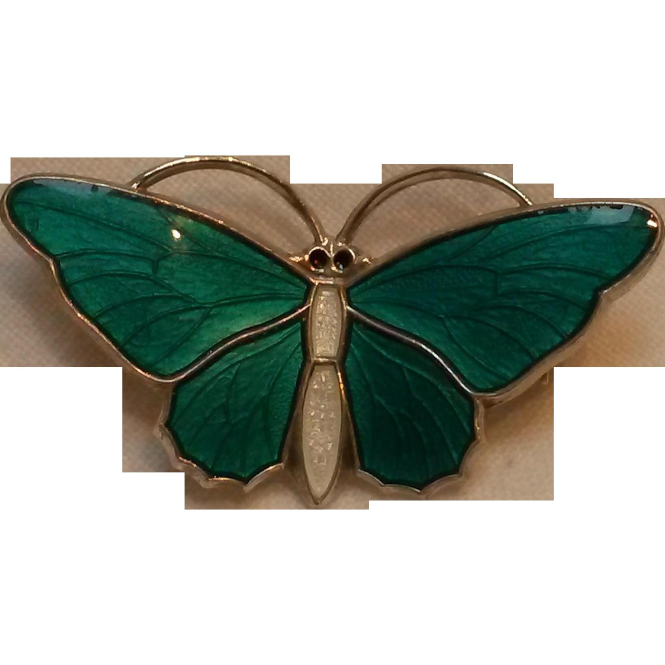 Aksel Holmsen sterling green basse taille enamel butterfly pin Norway