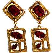 Daniel Swarovski Paris couture line earrings red crystal