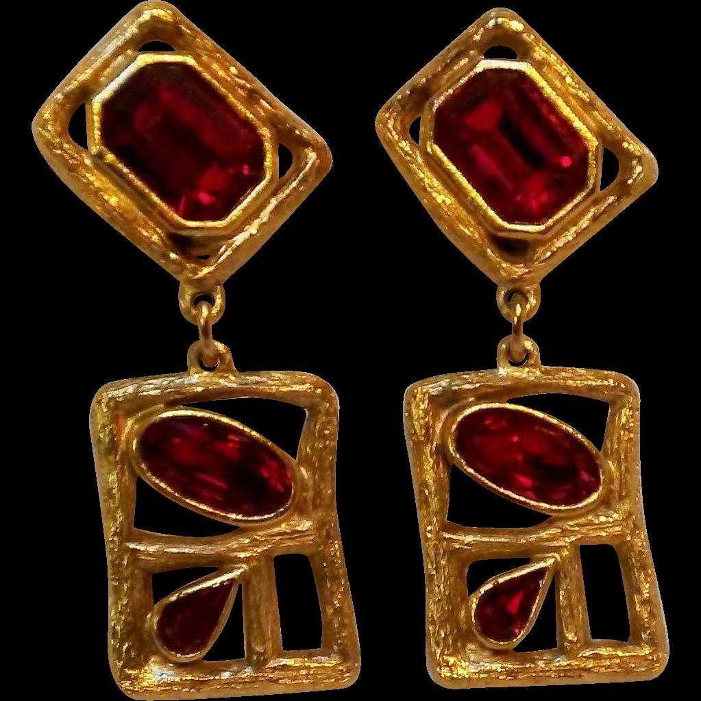 Daniel Swarovski Paris couture line earrings red crystal