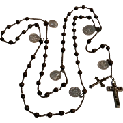 Antique wood rosary steel chain and crucifix aluminum devotional medals