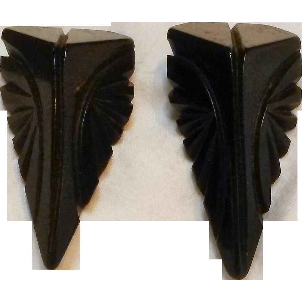 Deep carved dark chocolate brown Bakelite dress clips