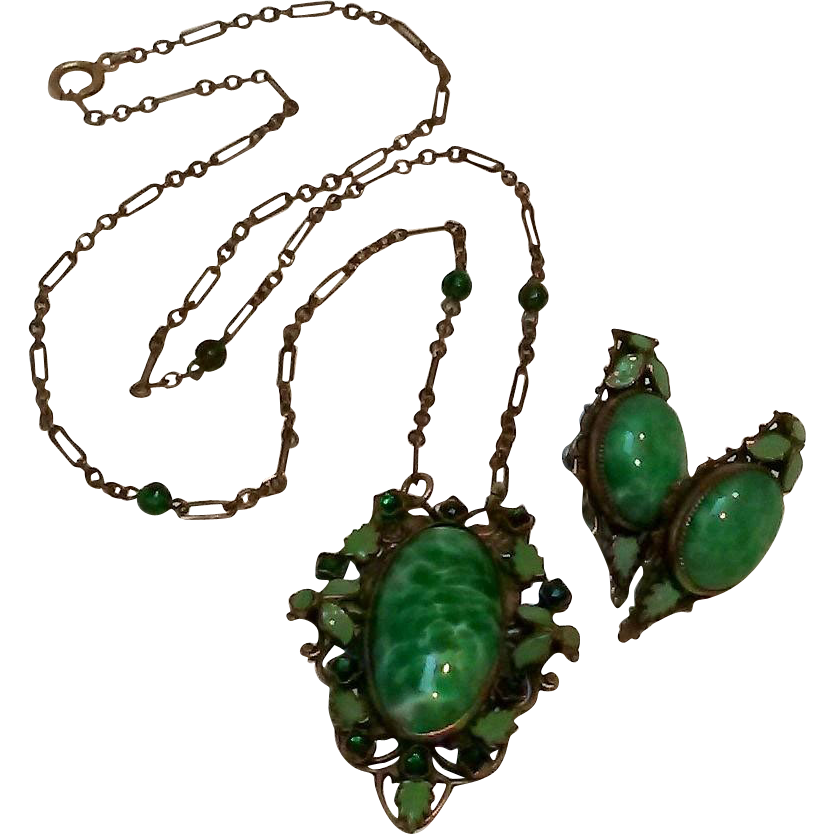 Max Neiger Czech Peking glass green dot leaf enamel necklace earrings set
