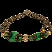 1920's Peking glass bracelet delicate rose metal mounts flowers pat snap clasp