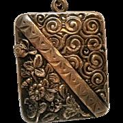 Sterling chatelaine vesta case match safe heavily embossed design
