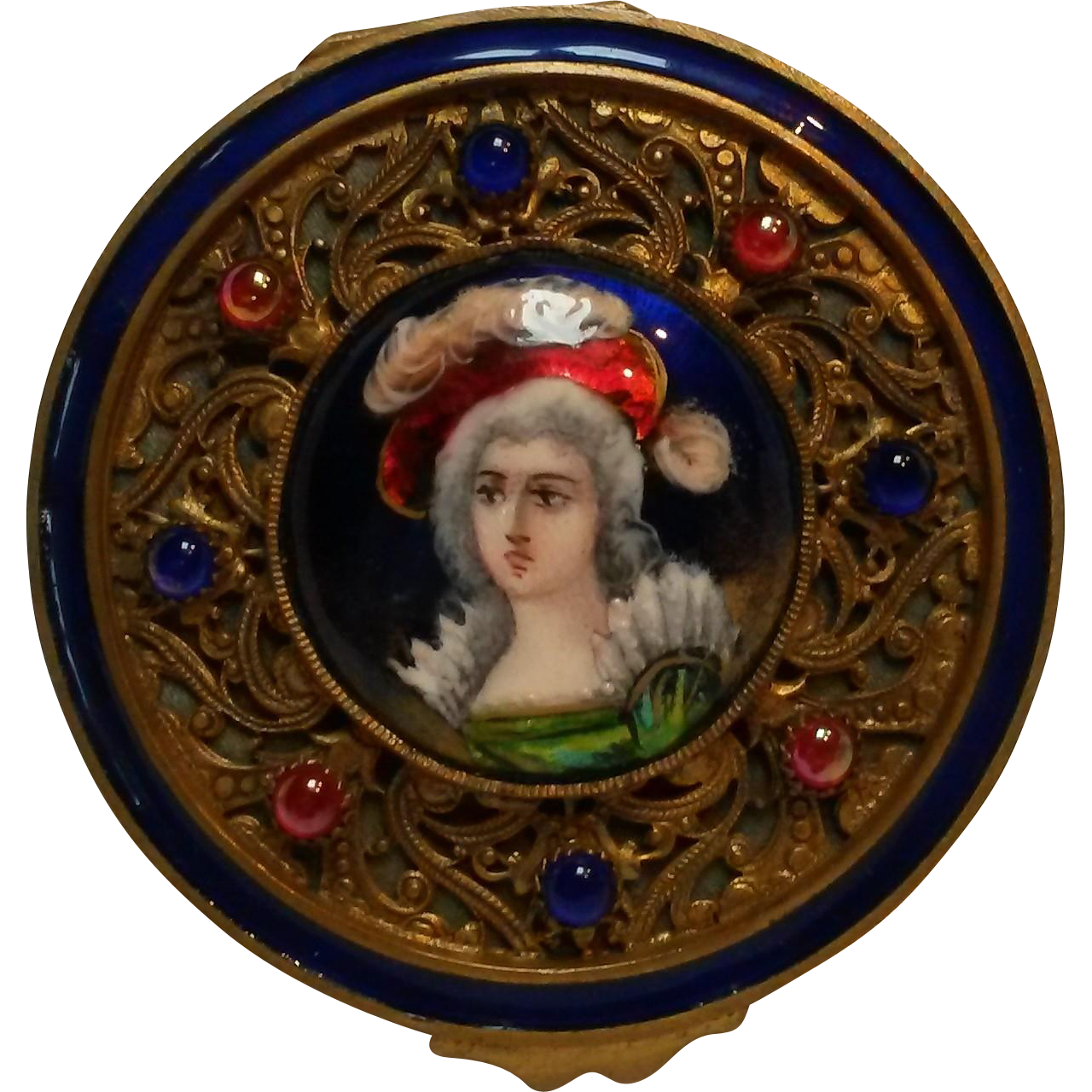 Antique French jeweled limoges  portrait compact ormolu