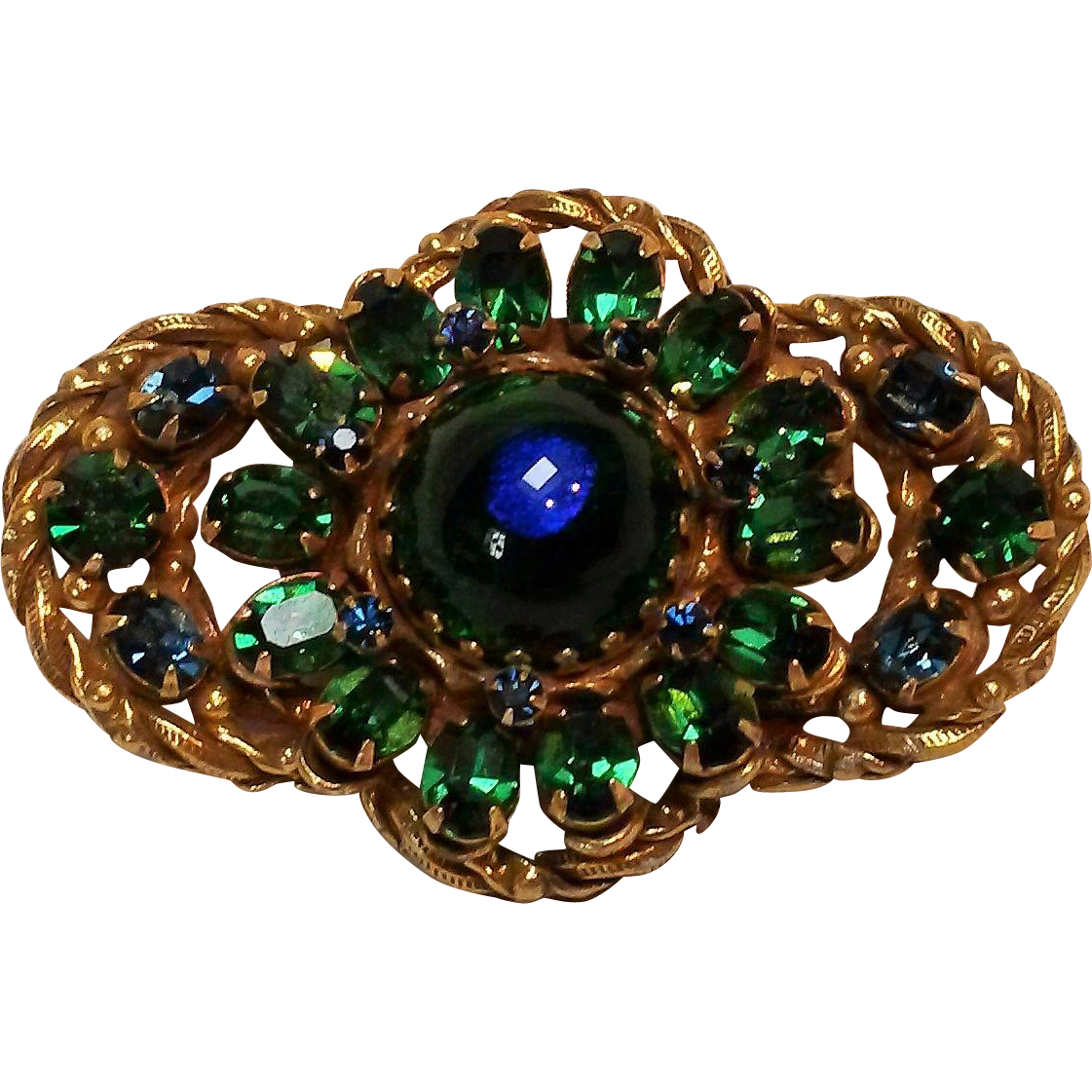 Peacock glass and rhinestone brooch pin blue green
