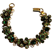 Florenza rhinestone bracelet green and pale yellow openwork plaques