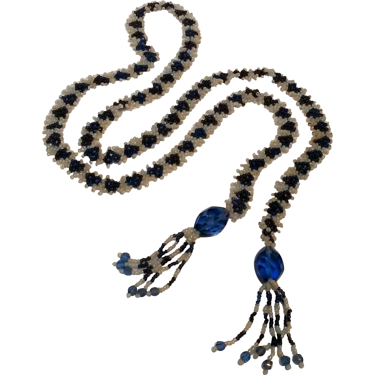 Lariat necklace flapper length blue glass beads tassel ends