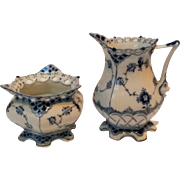Royal Copenhagen blue fluted full lace creamer and sugar bowl 1140 1112