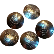Sterling silver pinecone buttons set of five