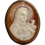 Saint Teresa cameo pin pendant carved shell 800 silver