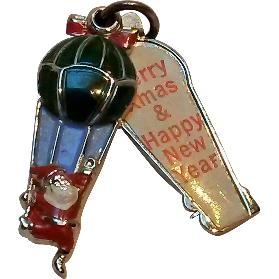 Wells sterling enamel Santa in a hot air  balloon slider charm