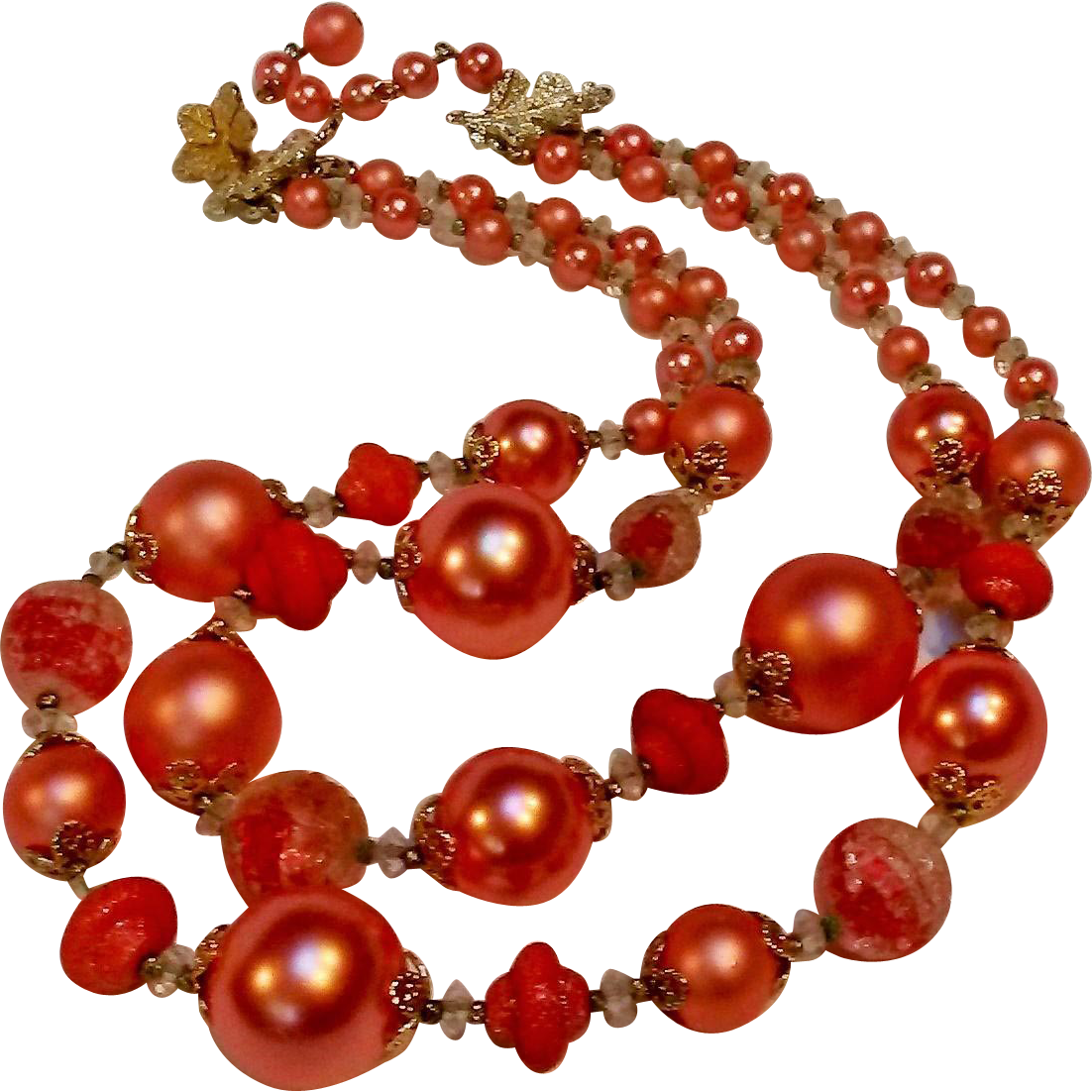 Vendome peach bead necklace two strand glass berry, simulated pearl