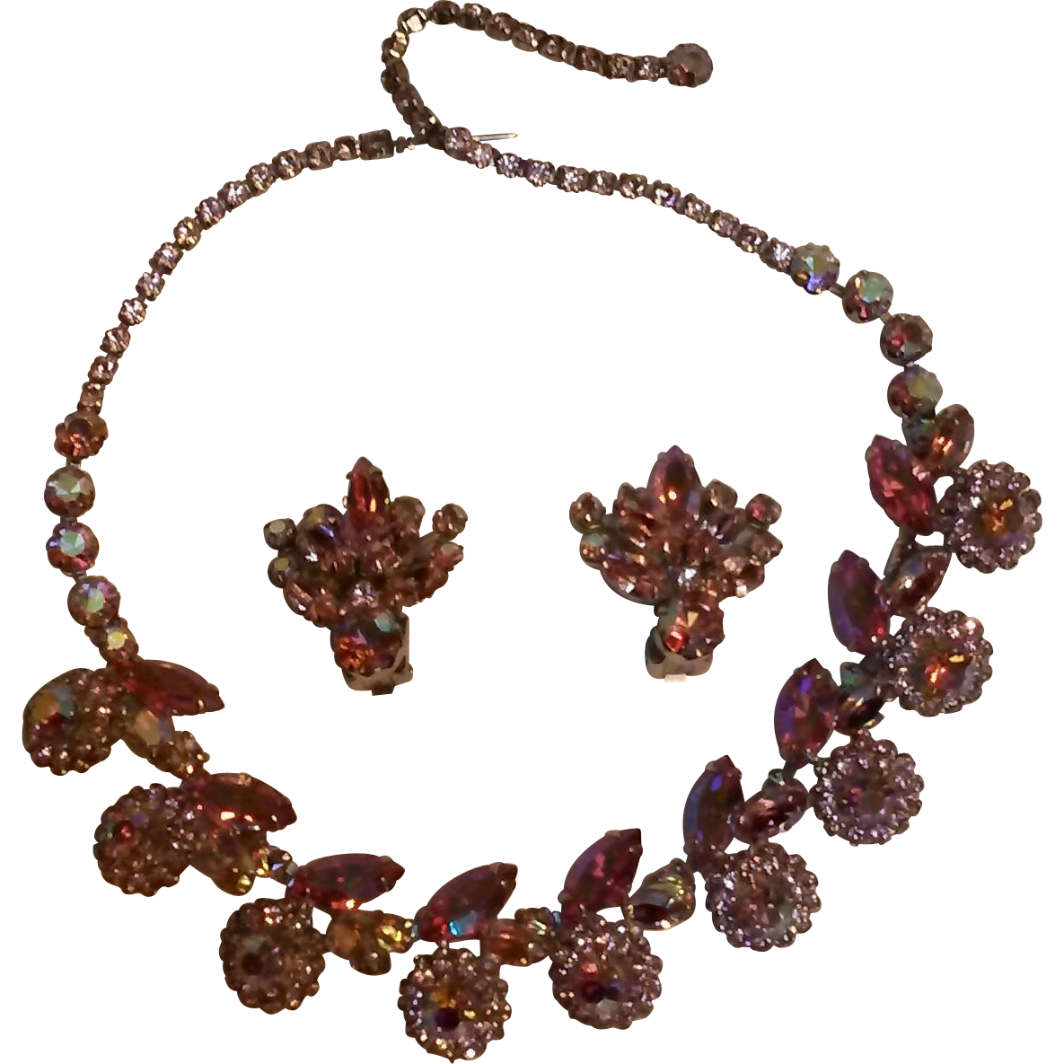 Weiss pink aurora borealis  rhinestone earrings and necklace