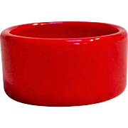 "Cherry red Bakelite bangle 1 3/8"" wide"