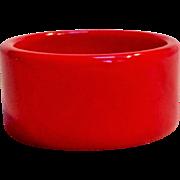 "Cherry red Bakelite bangle 1 3/8"" wide"