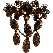 Original by Robert brooch pin filigree plaques dangling glass cabochons