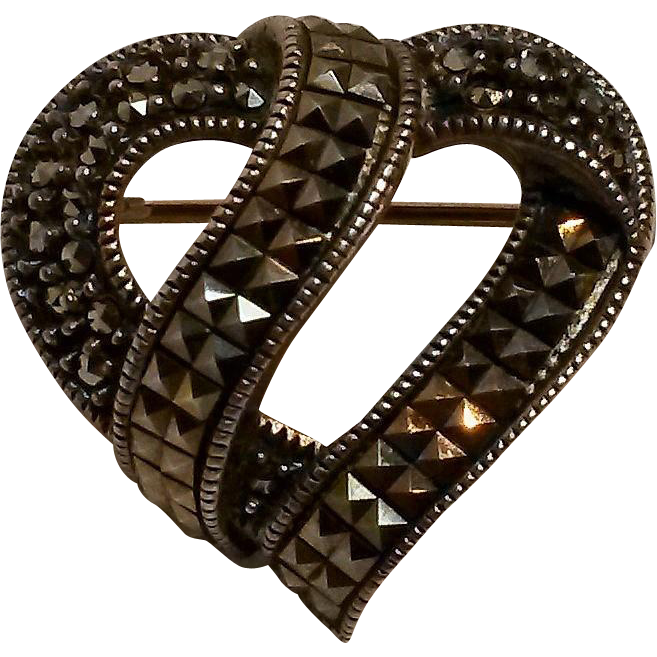 Judith Jack heart pin sterling marcasite