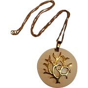 Trifari tree of life pendant Mod metal on ivory lucite