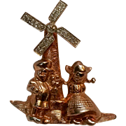 Garman sterling vermeil mechanical windmill pin rare 1940's
