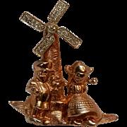 Garman sterling vermeil mechanical windmill pin rare 1940's