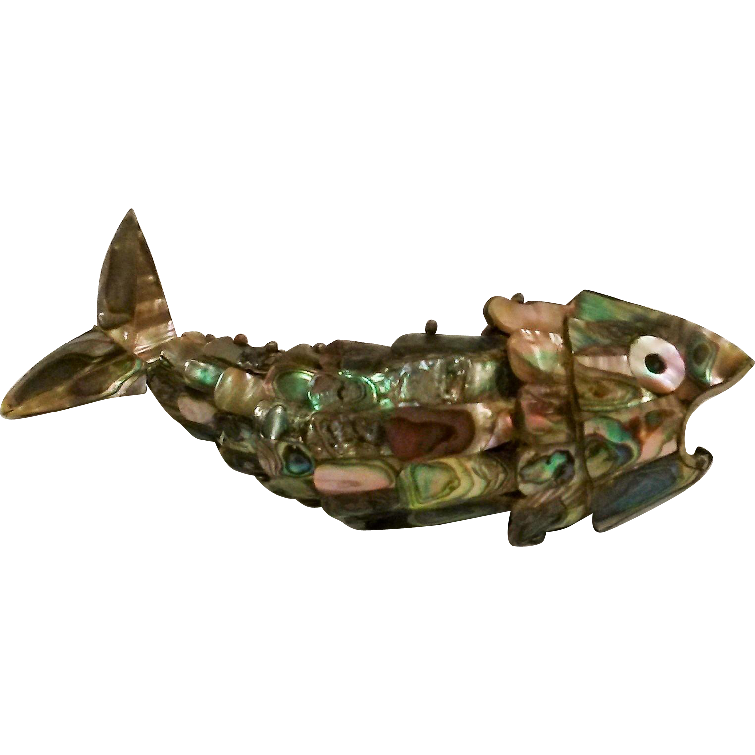 Articulated fish bottle opener abalone