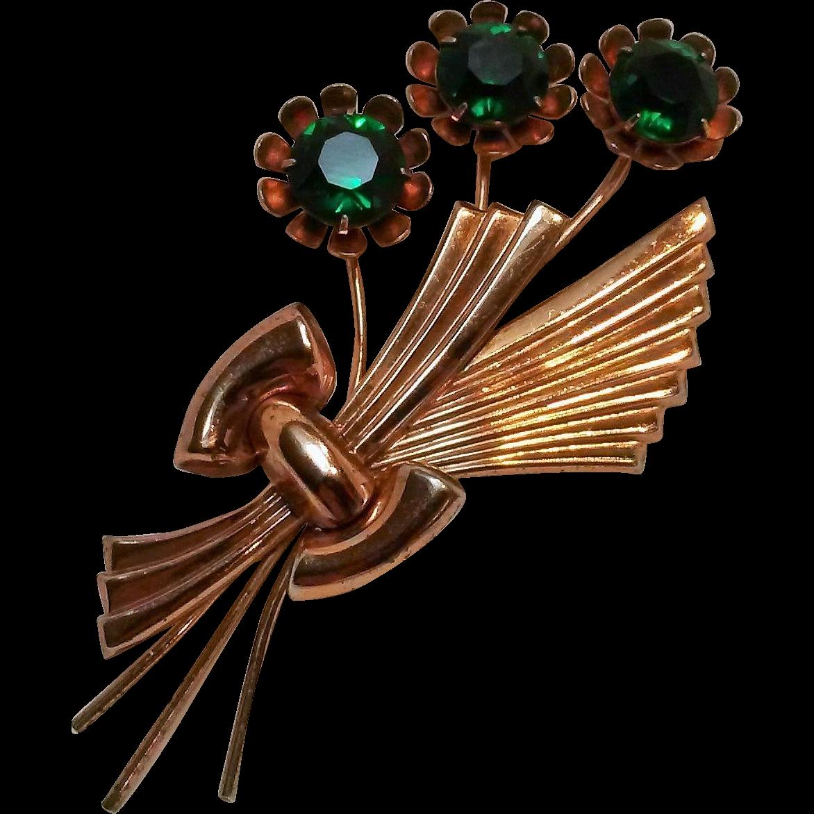 WW2 Era Sterling gilt pin green stone flowers
