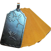 Sterling Dance card pendant Dragonfly Japanesque celluloid pages