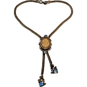 Bolo style slide necklace set with a genuine cameo and rhinestones