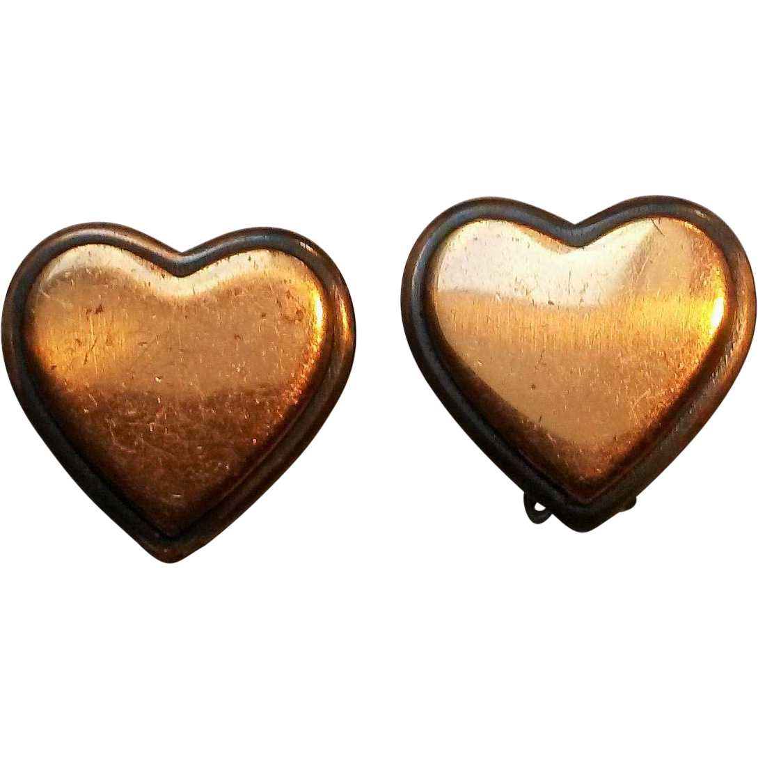 Rebajes copper heart clip earrings