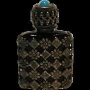 Miniature perfume bottle France black glass metal