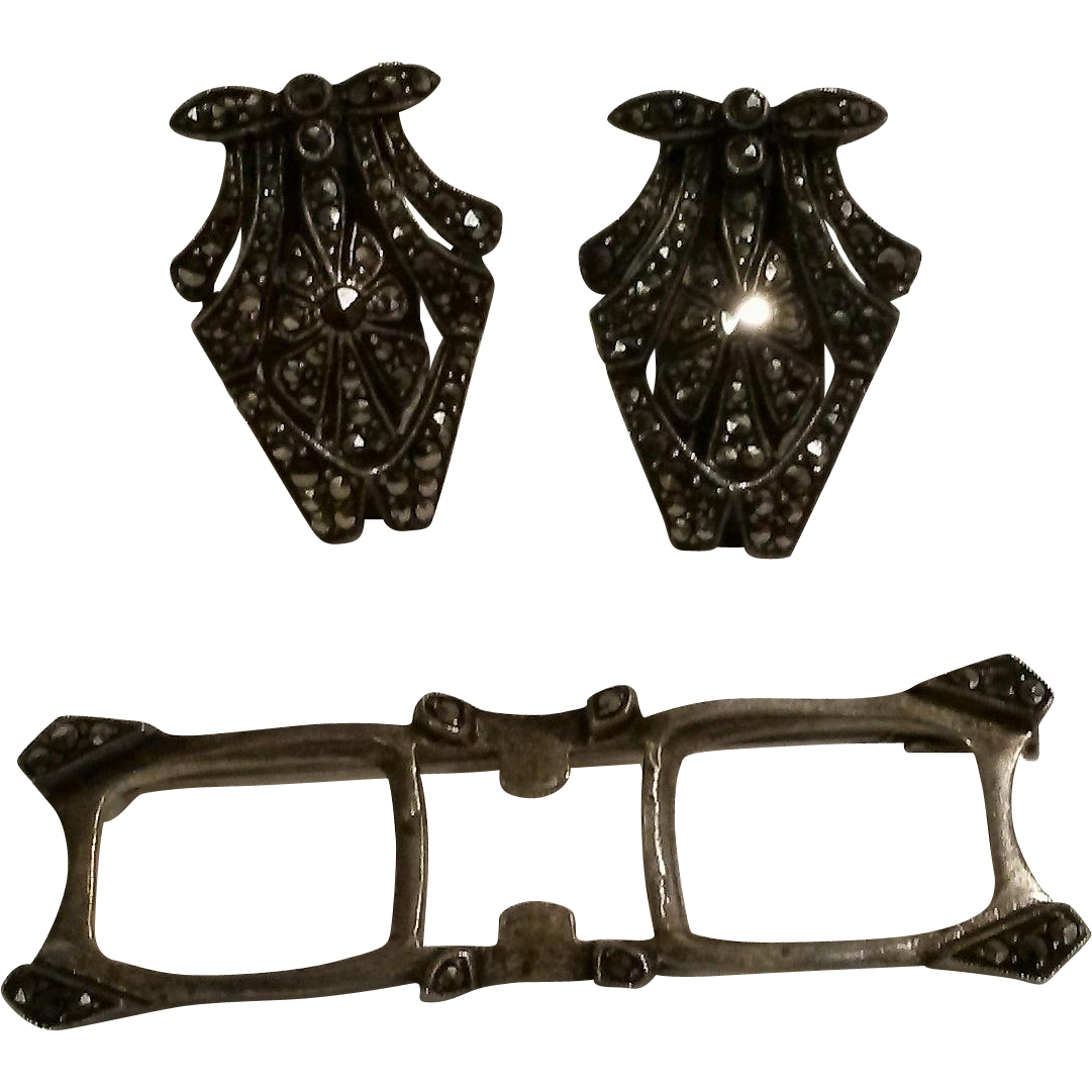 Art Deco silver marcasite duette clip pin France