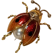 18K Gold guilloche enamel ladybug pin Italy pearl
