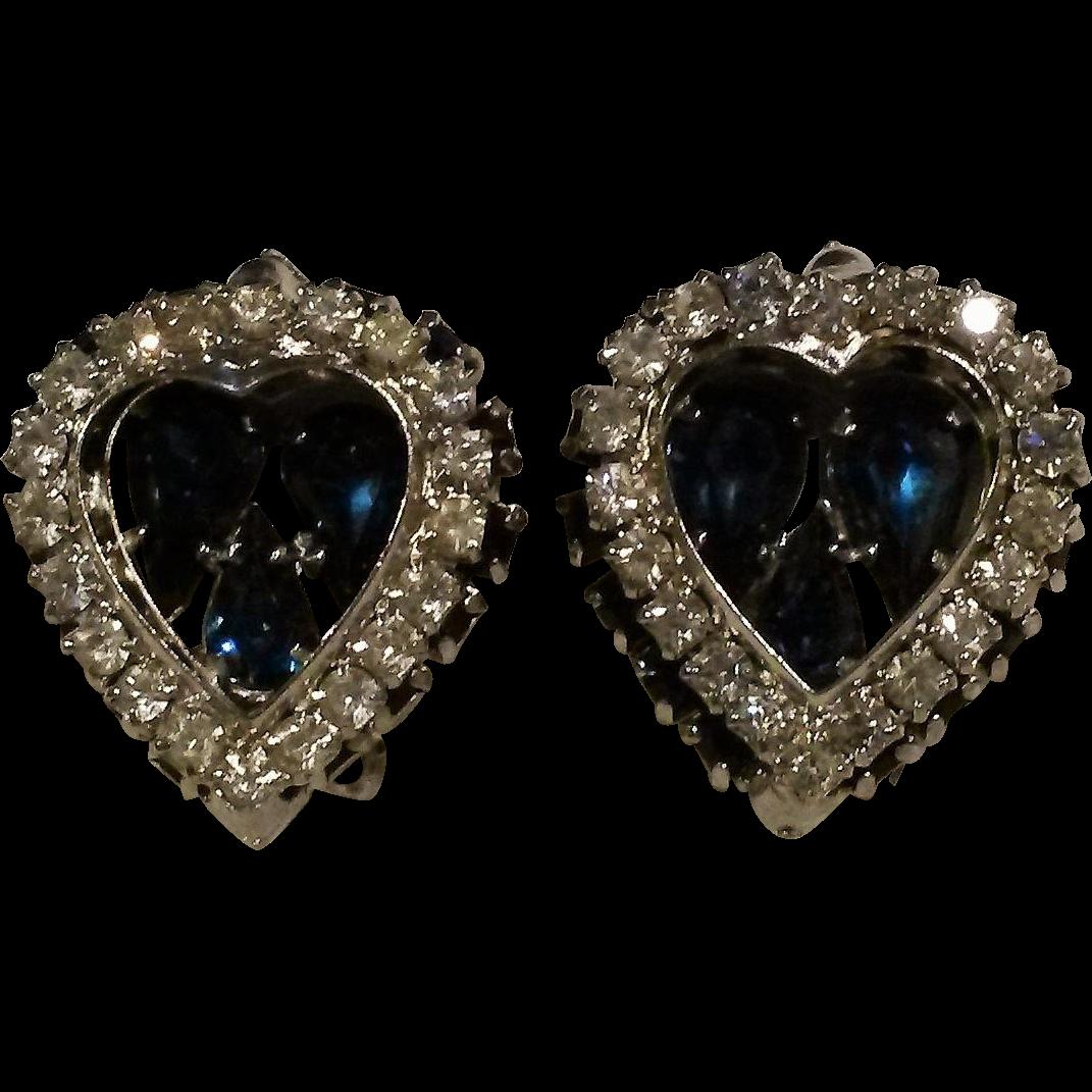 Warner rhinestone heart earrings blue clip