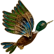 800 Silver enamel filigree duck pin Italy