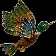 800 Silver enamel filigree duck pin Italy