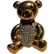 Carolee teddy bear pin rhinestone belly black enamel bow tie