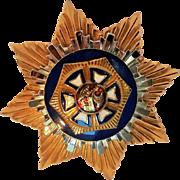 Coro heraldic eight  point star pendant blue enamel eagle