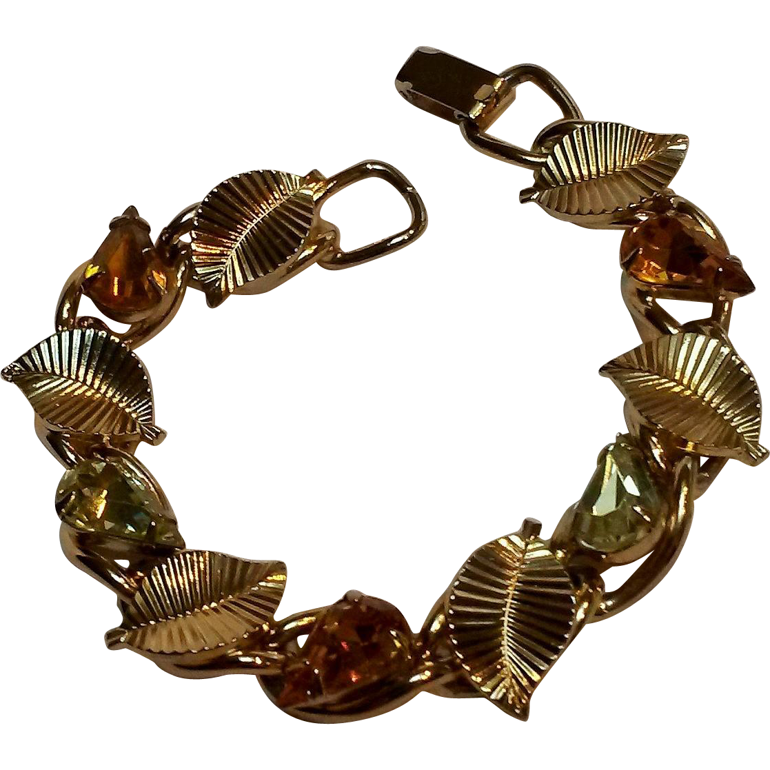Coro rhinestone bracelet honey amber yellow drop shape stones