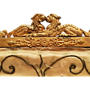 Antique Foo dog purse frame gilt metal Chinese guardian lions