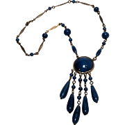 Czechoslovakia blue satin glass drop necklace