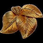Vendome rhinestone leaf pin