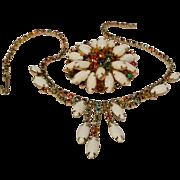 Pastel rhinestone milk glass cabochon brooch and necklace set