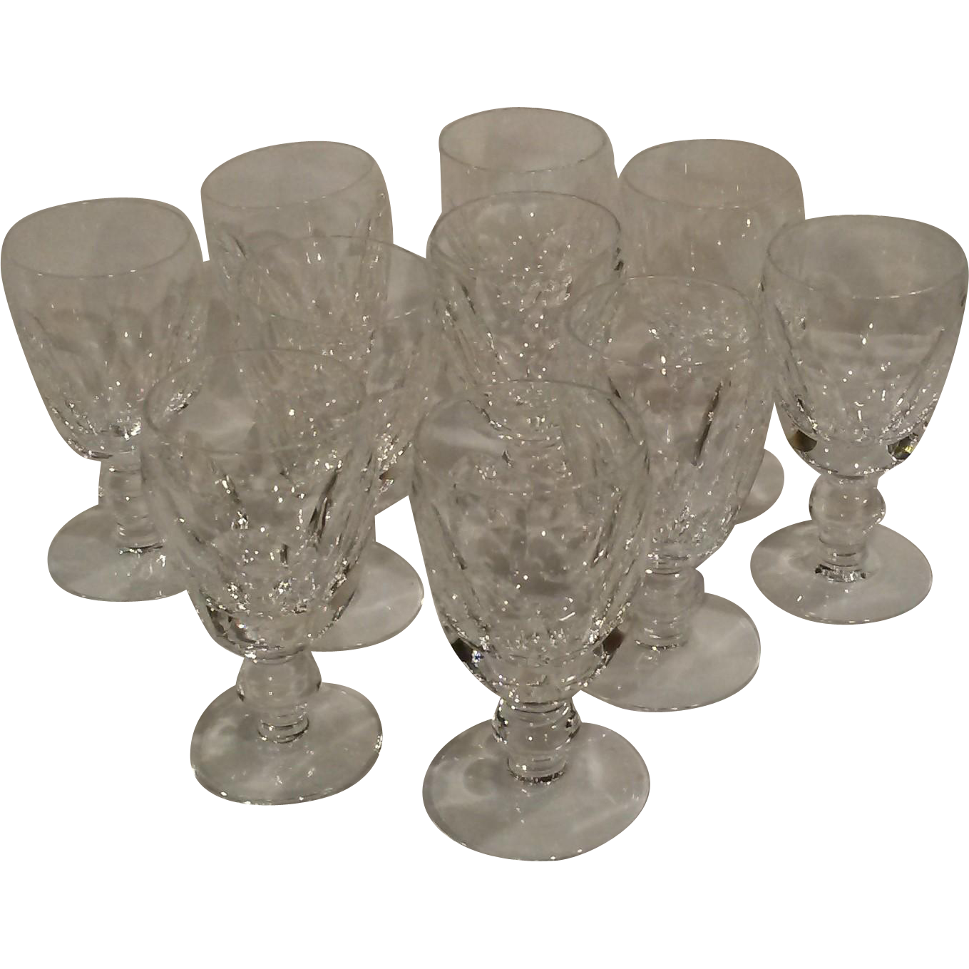 Waterford crystal Kathleen white wine stems goblets 10