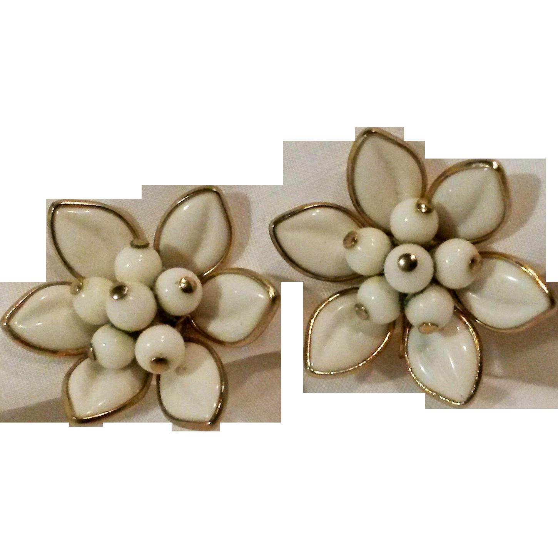Coro clip flower earrings poured glass petals