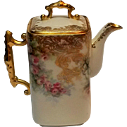 French porcelain depose miniature demitasse coffee pot pink roses gilt