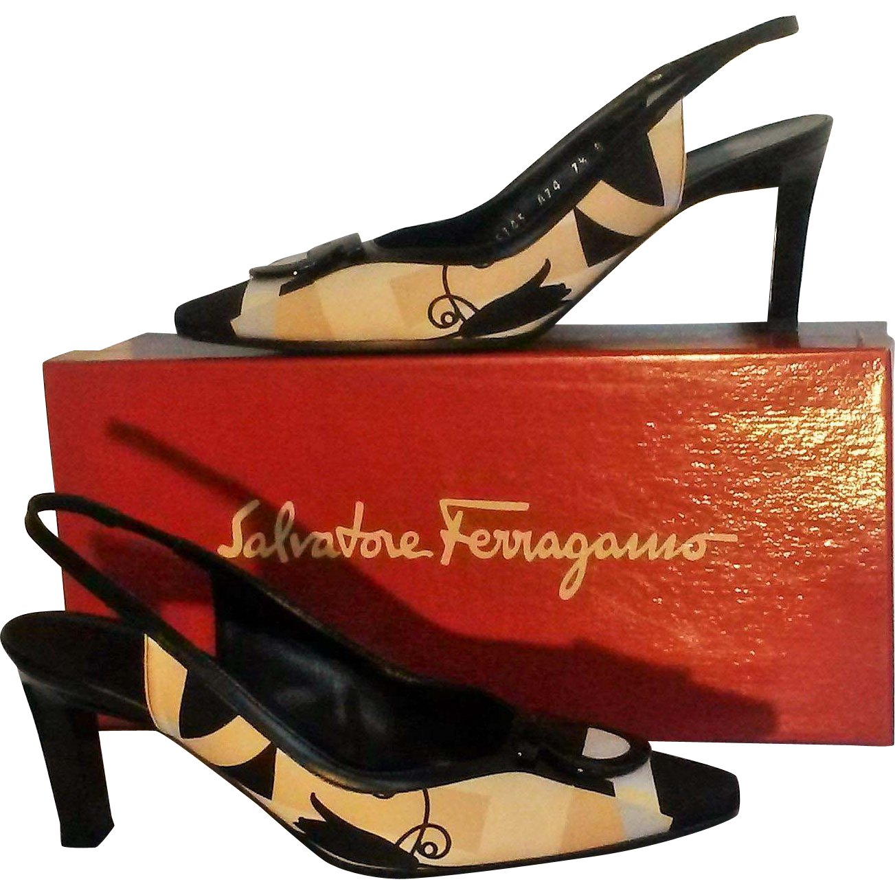 Salvatore Ferragamo Damietta sling back shoes Gancini Mod graphic fabric