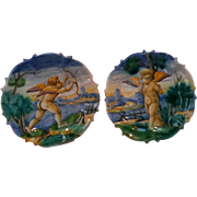 Rare Ulysse  Cantagalli Italian Majolica pottery plates  putti cupid